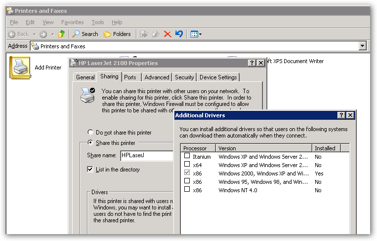 how to add additional drivers shared printer server 2012