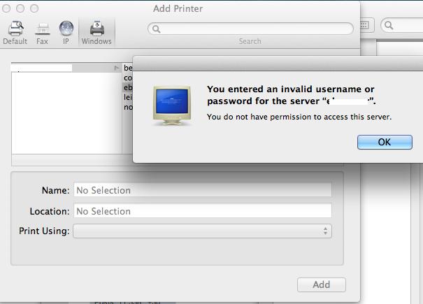 Mac – Printing to Windows based Printer – Error Message