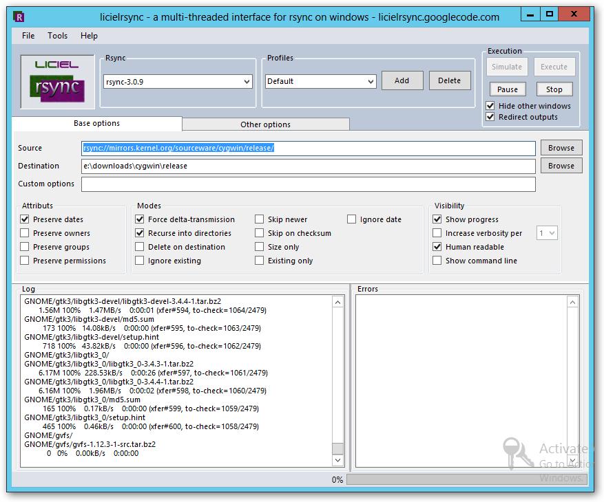 licielrsync – rsync windows Interface | Learning in the Open