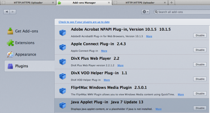 Firefox - Plugins - Java Applet Plug-in
