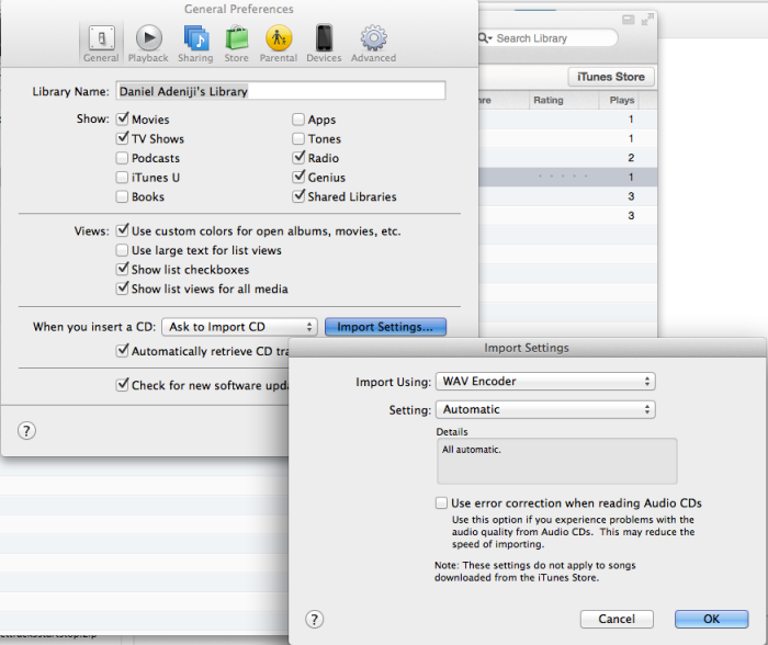 iTunes - General Preferences - Import Settings