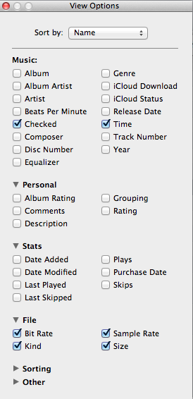 iTunes - View Options