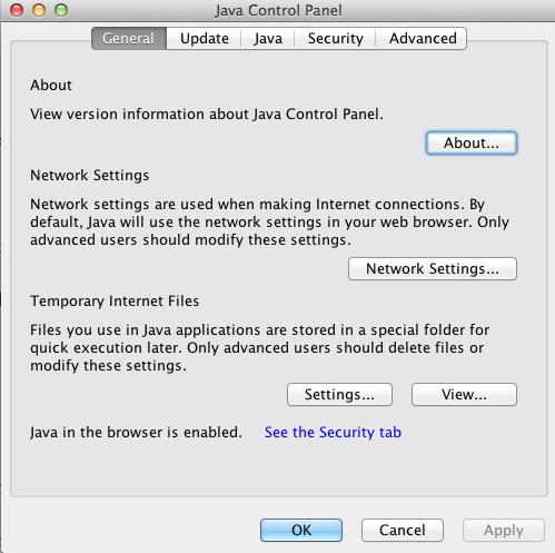 Java Control Panel - General