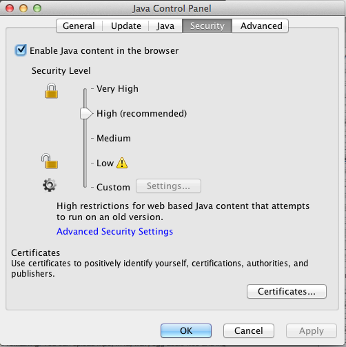 Java Control Panel - Java Applet - Security Level