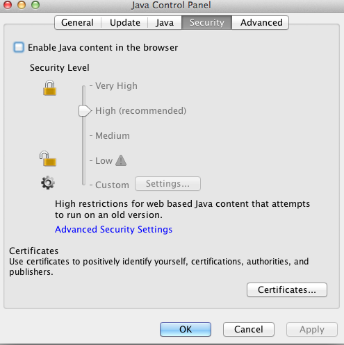 Java Control Panel - Security ( java disabled in browser)