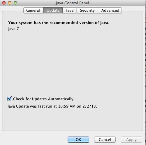 Java Control Panel - Update