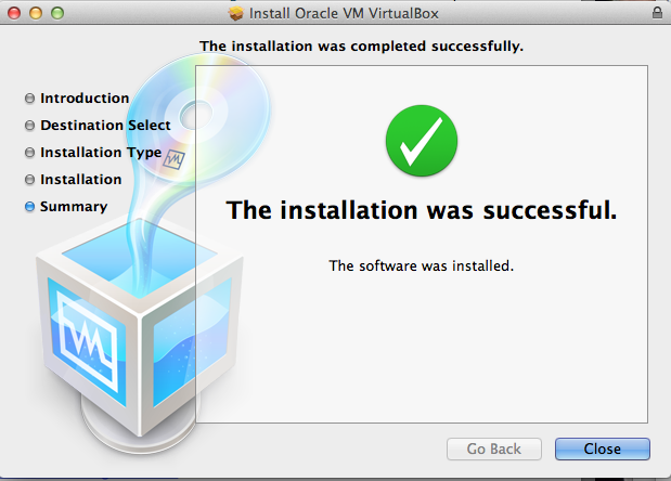 Virtual Box - Installation was successful