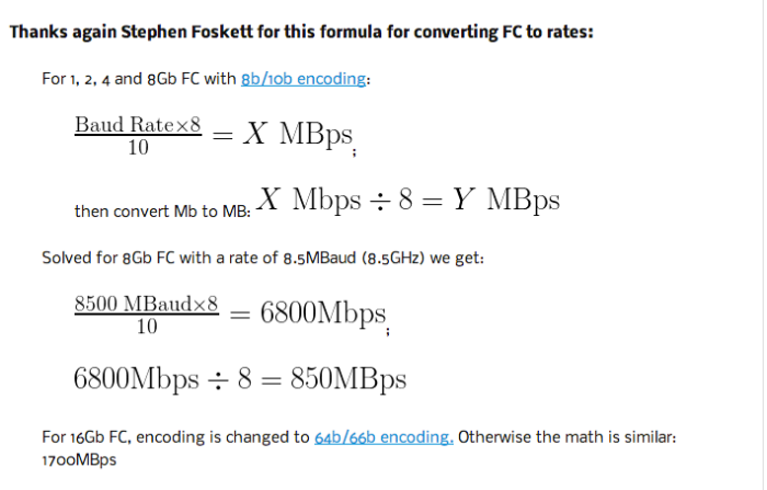 Fiber Channel - Convert -- FC to MBps