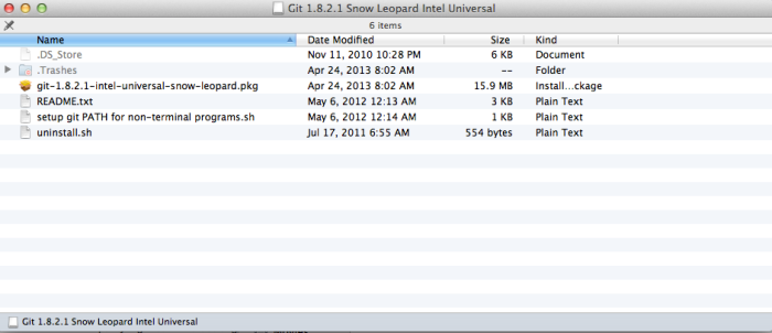 Git 1.8.2.1 -- Snow Leopard Intel Universal
