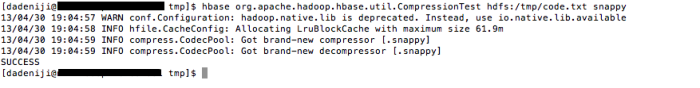 Hadoop - HBase - CompressionTest - Snappy (hdfs)