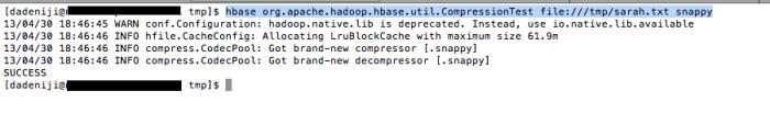Hadoop - HBase - CompressionTest - Snappy