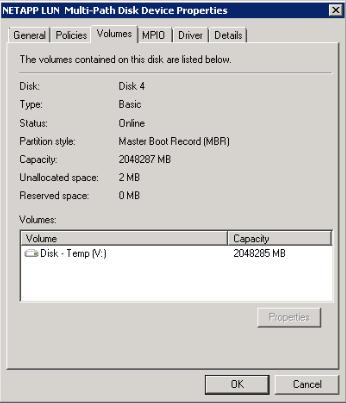 NetApp Device Properties