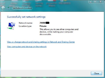 Network and Sharing Center - Set Network Location