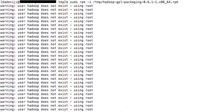rpm -- gpl-packaging -- user hadoop does not exist