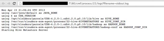 Hadoop - Cloudera Manager - Hive - Status - Log - stdout