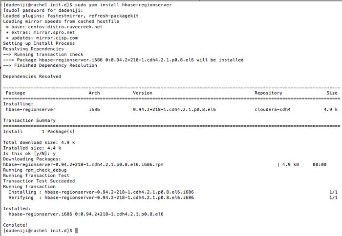 Hadoop - Hbase - RegionServer - Install - Log (v2)
