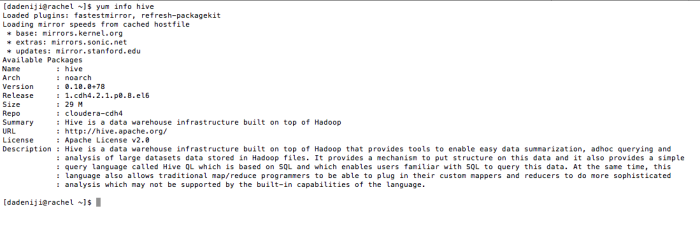 Hadoop - Hive - package - hive -- info (v2)