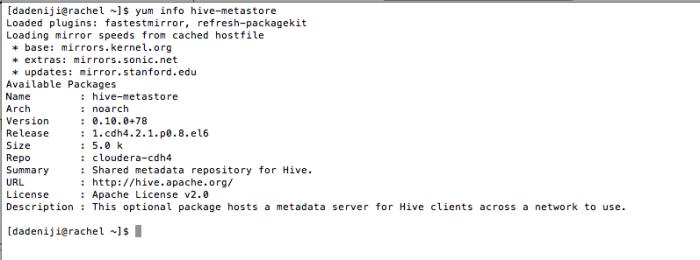 Hadoop - Hive - package - hive-metastore -- info