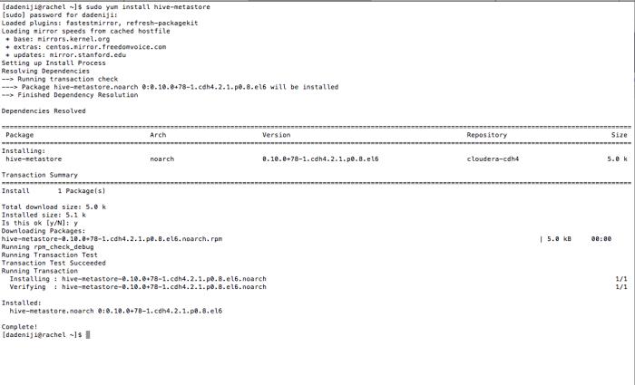 Hadoop - Hive - package - hive-metastore -- Install - Log
