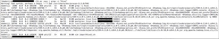 Hadoop - Hive - Version -- ps --aux