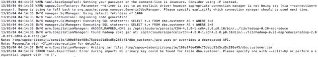Hadoop -sqoop - Import - Error - No primary key