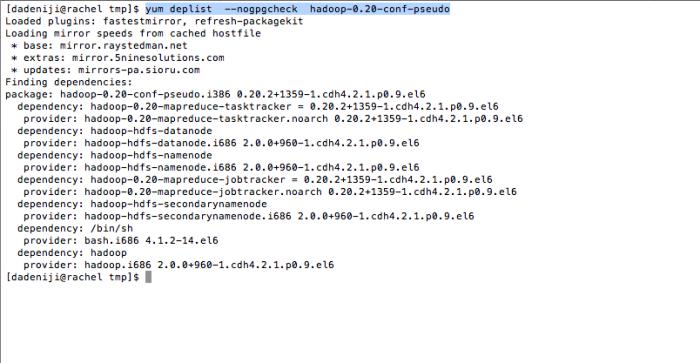 Hadoop - yum -deplist -- hadoop-conf-pseudo