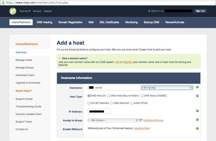 noip.com -- Add a host