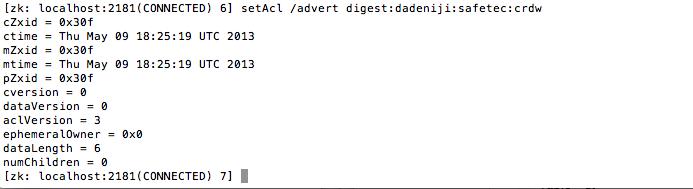 ZooKeeper - Client - setAcl - Digest Authentication (folder advert)
