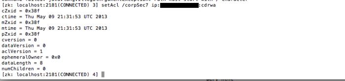 ZooKeeper - Client - setAcl - IPAddress (folder corpSec7)