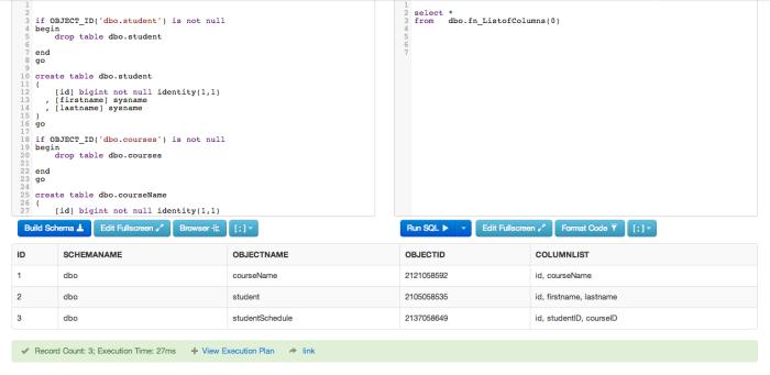 ObjectCommaList -- SQLFiddle (v2)