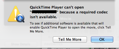 QuickTime -- Can't open … because a required codec isn't available
