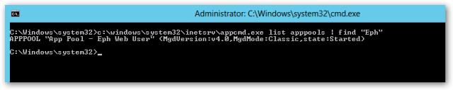 appcmd - list appppols (filtered)