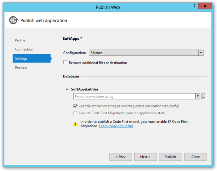 publishWebApplication - Settings