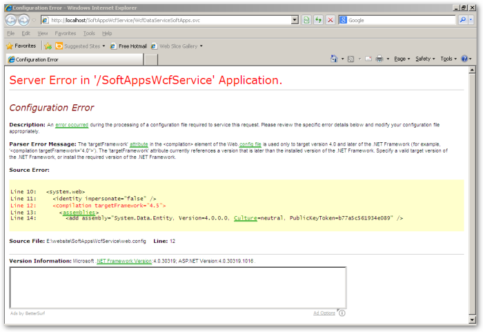 Web Browser - Error - HTTP Error - Compilation - Target Framework