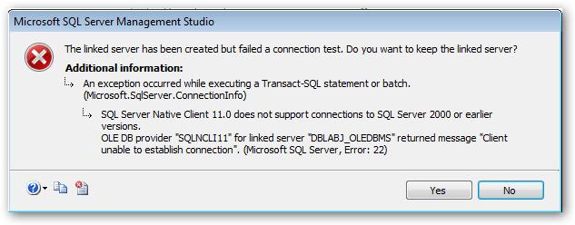 SQLServerNativeClientDoesNotSupport