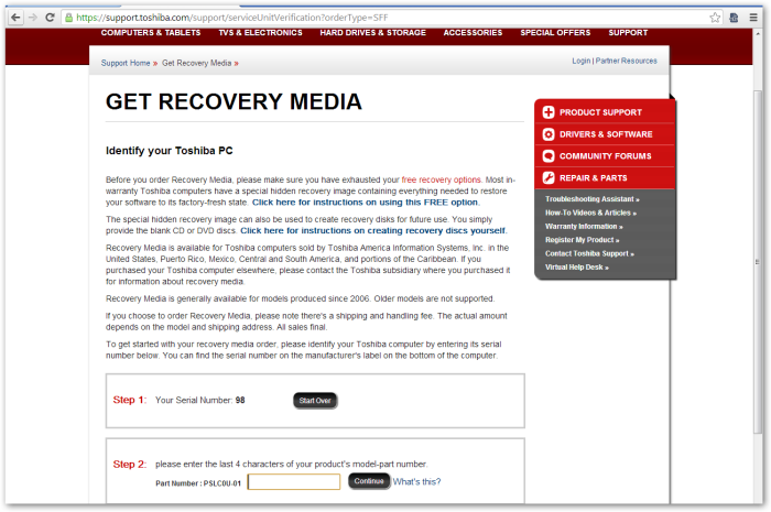 GetRecoveryMedia - IdentifyYourToshibaPC