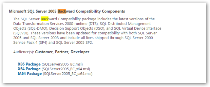Microsoft SQL Server 2005 Backward Compatibility Components