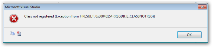 Class not registered (Exception from HRESULT 0x80040154 (REGDB_E_CLASSNOTREG))