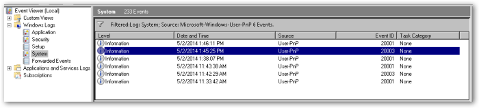eventViewer-System-FilterOnSource--User-Pnp
