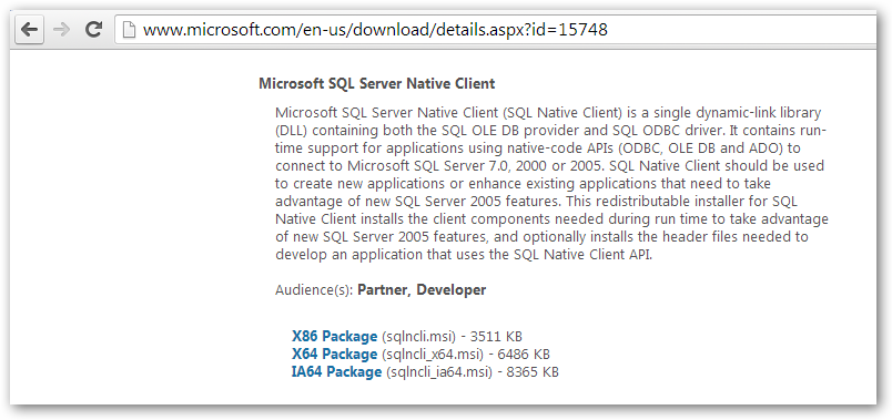 microsoft sql server 2012 native client x86 download