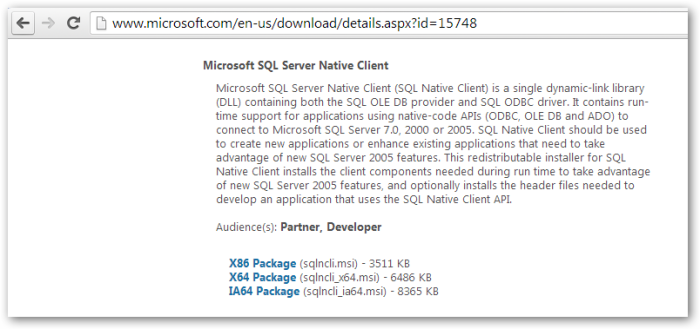 Microsoft SQL Server Native Client _ v2005