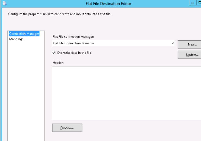 FlatFileDestinationEditor-ConnectionManager-Header