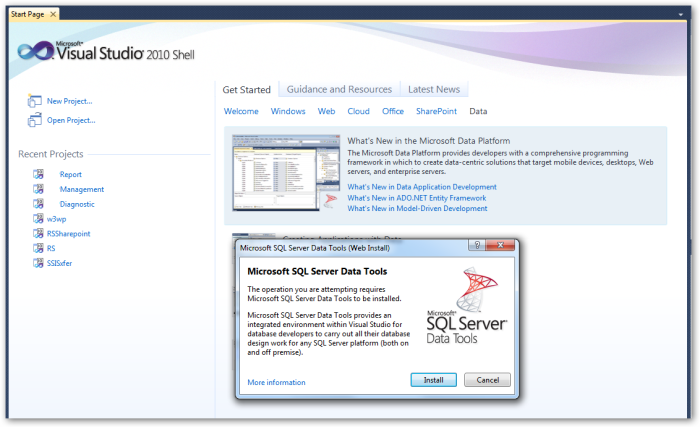 Microsoft SQL Server Data Tools (Web Install)