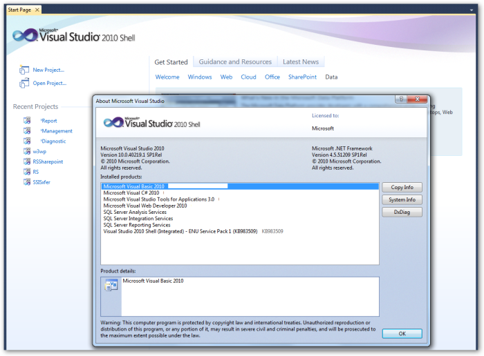 VisualStudio2010Shell