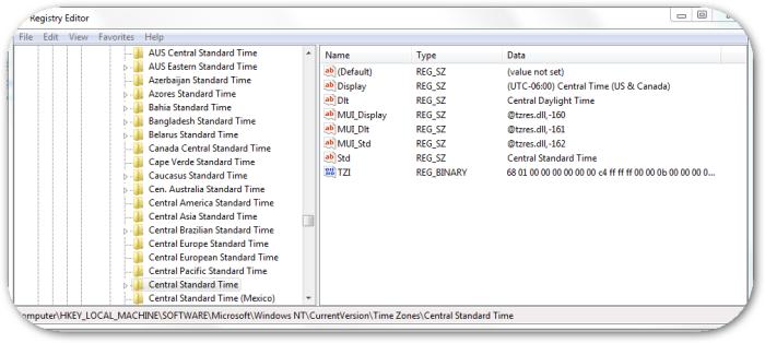 TimezoneRegistrySetting4CentralStandardTime