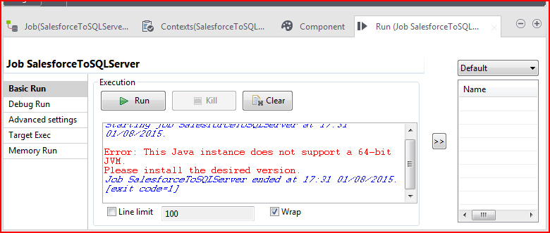 Talend: Job Log – Could not reserve enough space for object
