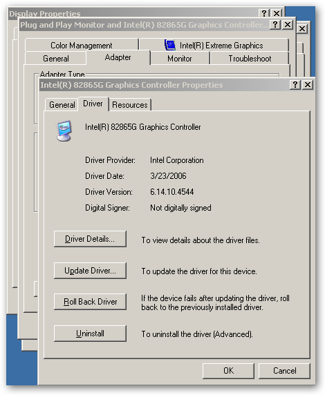 pilote carte graphique intel 82845g/gl/gv