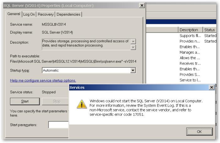 ServiceSpecificErrorCode17051