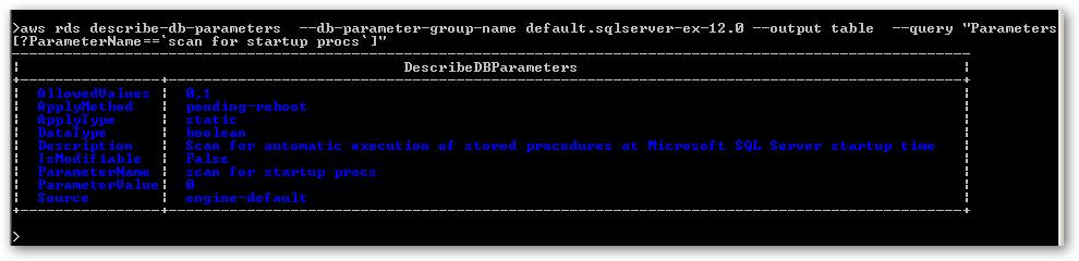 ListDBParameterValue-ScanForStartupProcs
