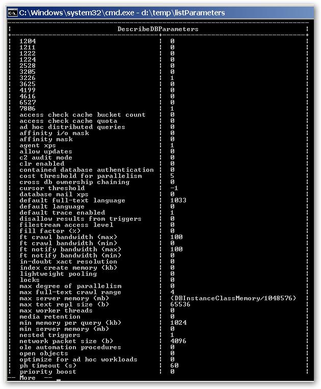 ListDBParameterValues